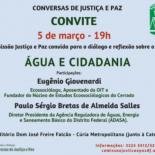 Água e Cidadania é tema da próxima Conversa de Justiça e Paz
